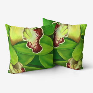 Lime Orchid Throw Pillow