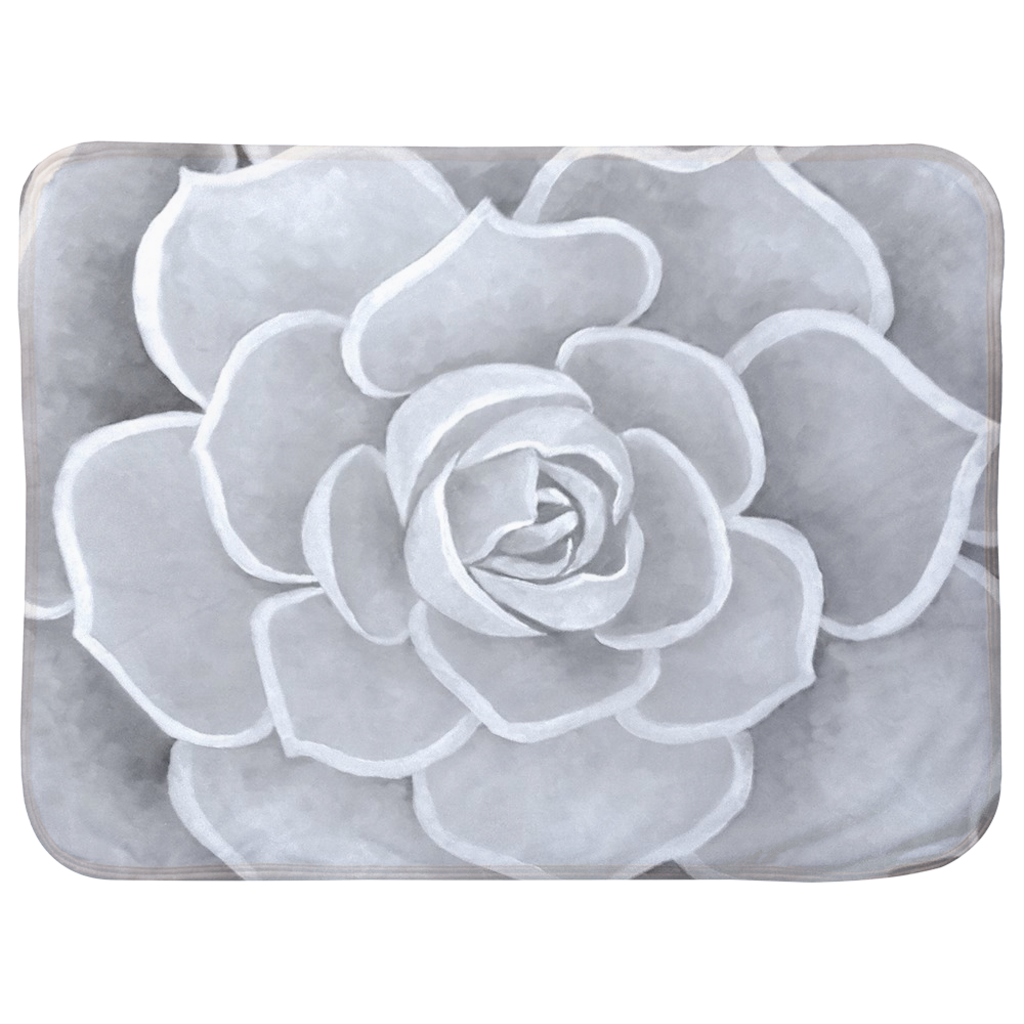 Light Grey Succulent Infant Sherpa Blanket