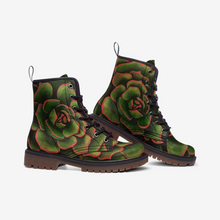 Load image into Gallery viewer, Coral & Green Succulent Combat Boots