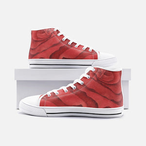 Red Rose High Top Canvas Shoes