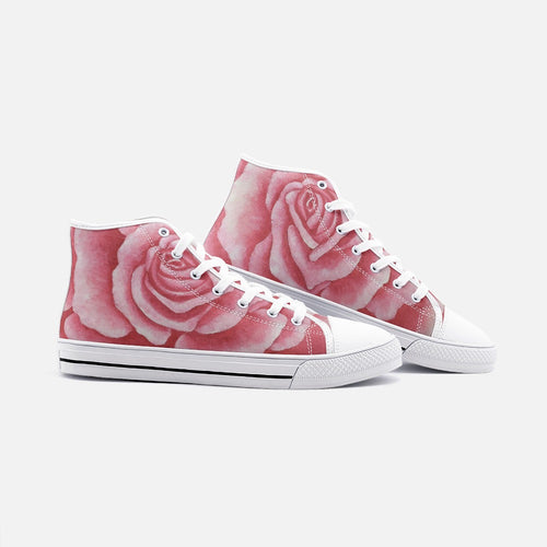 Coral Rose High Top Canvas Shoes