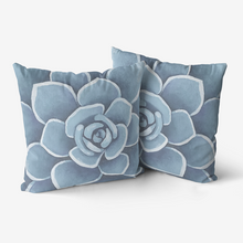Load image into Gallery viewer, Dusty Blue Succulent Throw Pillow