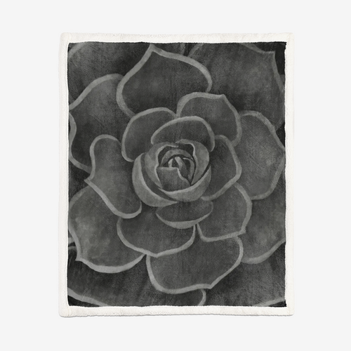 Charcoal Succulent Sherpa Blanket