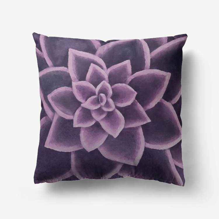 Plum Succulent Throw Pillow