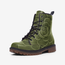 Load image into Gallery viewer, Olive Succulent Combat Boots