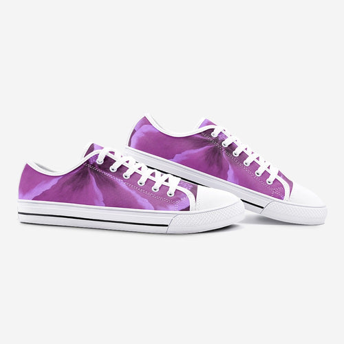Fuchsia Hibiscus Low Top Canvas Shoes