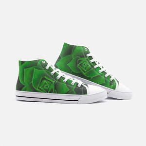Emerald Succulent High Top Canvas Shoes