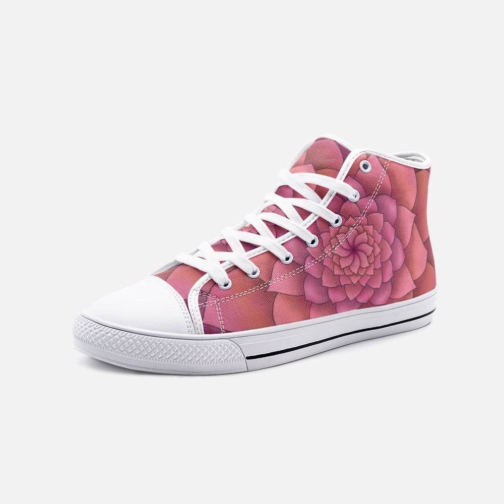 Magenta Succulent High Top Canvas Shoes