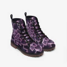 Load image into Gallery viewer, Plum Succulent Combat Boots