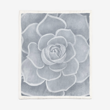Load image into Gallery viewer, Light Grey Succulent Sherpa Blanket