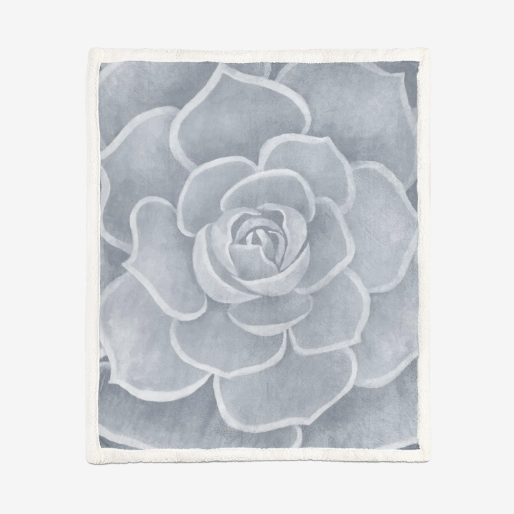 Light Grey Succulent Sherpa Blanket