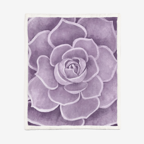 Lilac Succulent Sherpa Blanket
