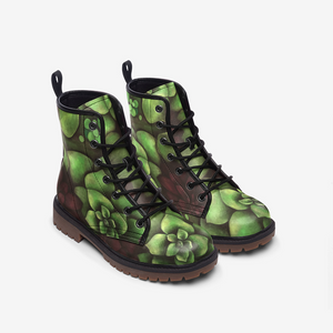 Succulent Garden Leather Combat Boots