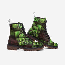Load image into Gallery viewer, Succulent Garden Leather Combat Boots