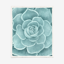 Load image into Gallery viewer, Seafoam Succulent Sherpa Blanket