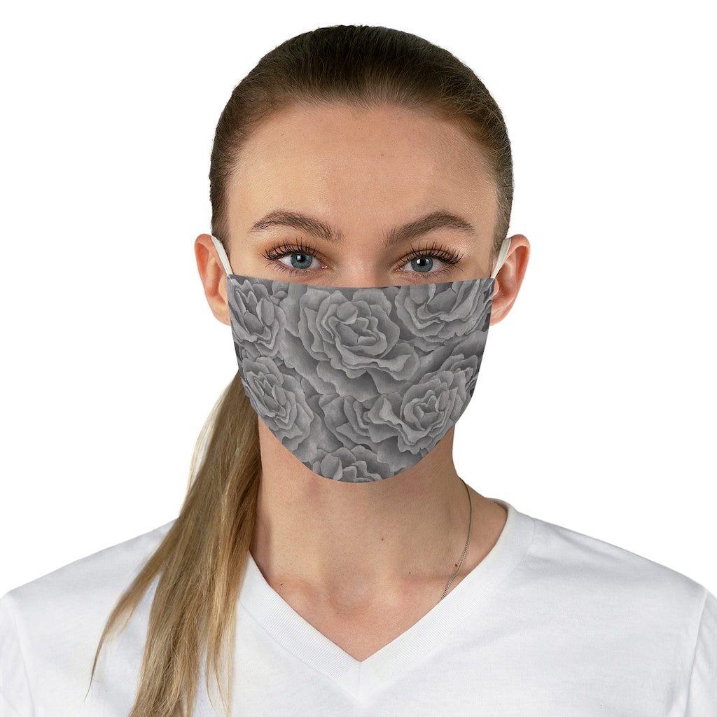Grey Roses Face Mask