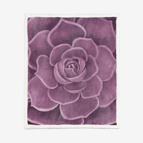 Pink Succulent Sherpa Blanket