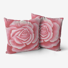 Load image into Gallery viewer, Coral Rose Throw Pillow