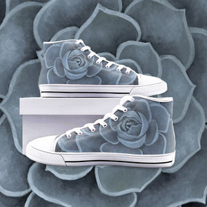Blue Succulent High Top Shoes