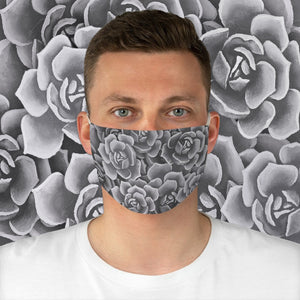 Grey Succulents Face Mask