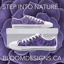 Load image into Gallery viewer, Purple Succulent Low Top Canvas Shoes