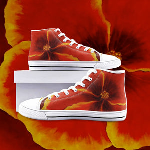 Red Hibiscus High Top Canvas Shoes