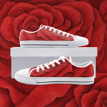 Load image into Gallery viewer, Red Rose Low Top Canvas Shoes