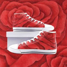 Load image into Gallery viewer, Red Rose High Top Canvas Shoes