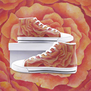 Tangerine Rose High Top Canvas Shoes