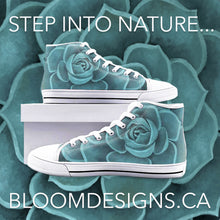 Load image into Gallery viewer, Teal Succulent  High Top Canvas Shoes