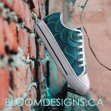 Load image into Gallery viewer, Teal Succulent Low Top Canvas Shoes