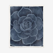 Load image into Gallery viewer, Cobalt Succulent Sherpa Blanket