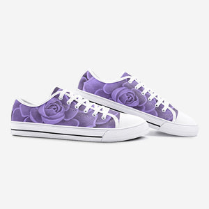 Purple Succulent Low Top Canvas Shoes
