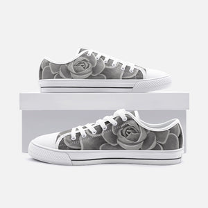 Grey Succulent Low Top Canvas Shoes