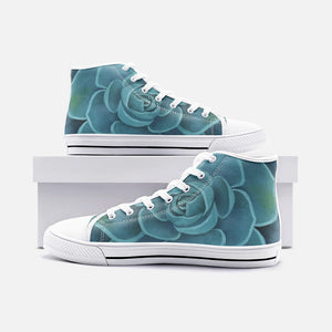 Teal Succulent  High Top Canvas Shoes