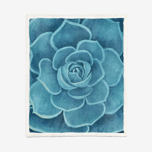 Turquoise Succulent Sherpa Blanket