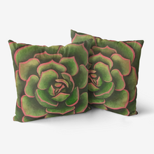 Load image into Gallery viewer, Coral & Green Succulent Throw Pillow