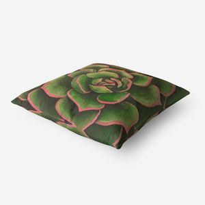 Coral & Green Succulent Throw Pillow