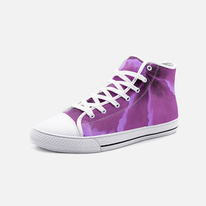 Fuchsia Hibiscus High Top Canvas Shoes