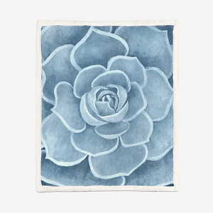 Powder Blue Succulent Sherpa Blanket