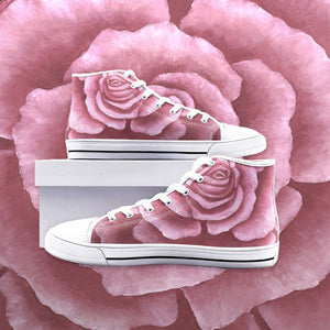Pink Rose High Top Canvas Shoes