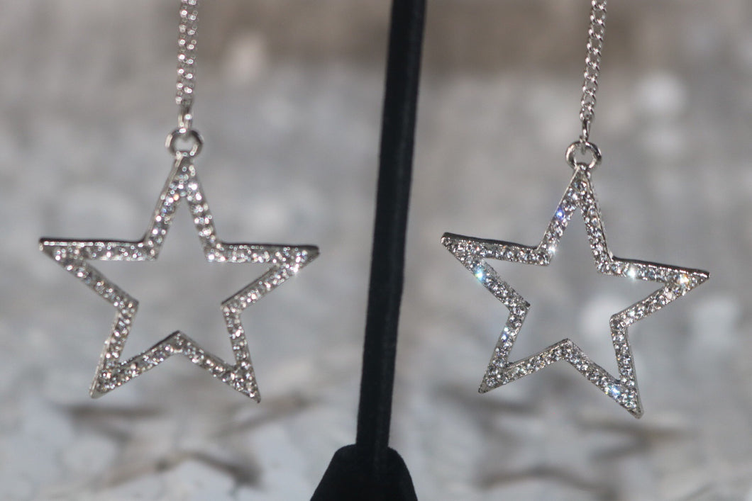 Star Drop Earrings - Silver