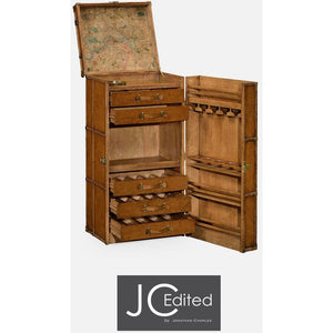 Travel Trunk Style Wine and Cocktail Cabinet by Jonathan Charles Fine Furniture Bar Jonathan Charles Fine Furniture - Express Home Bars