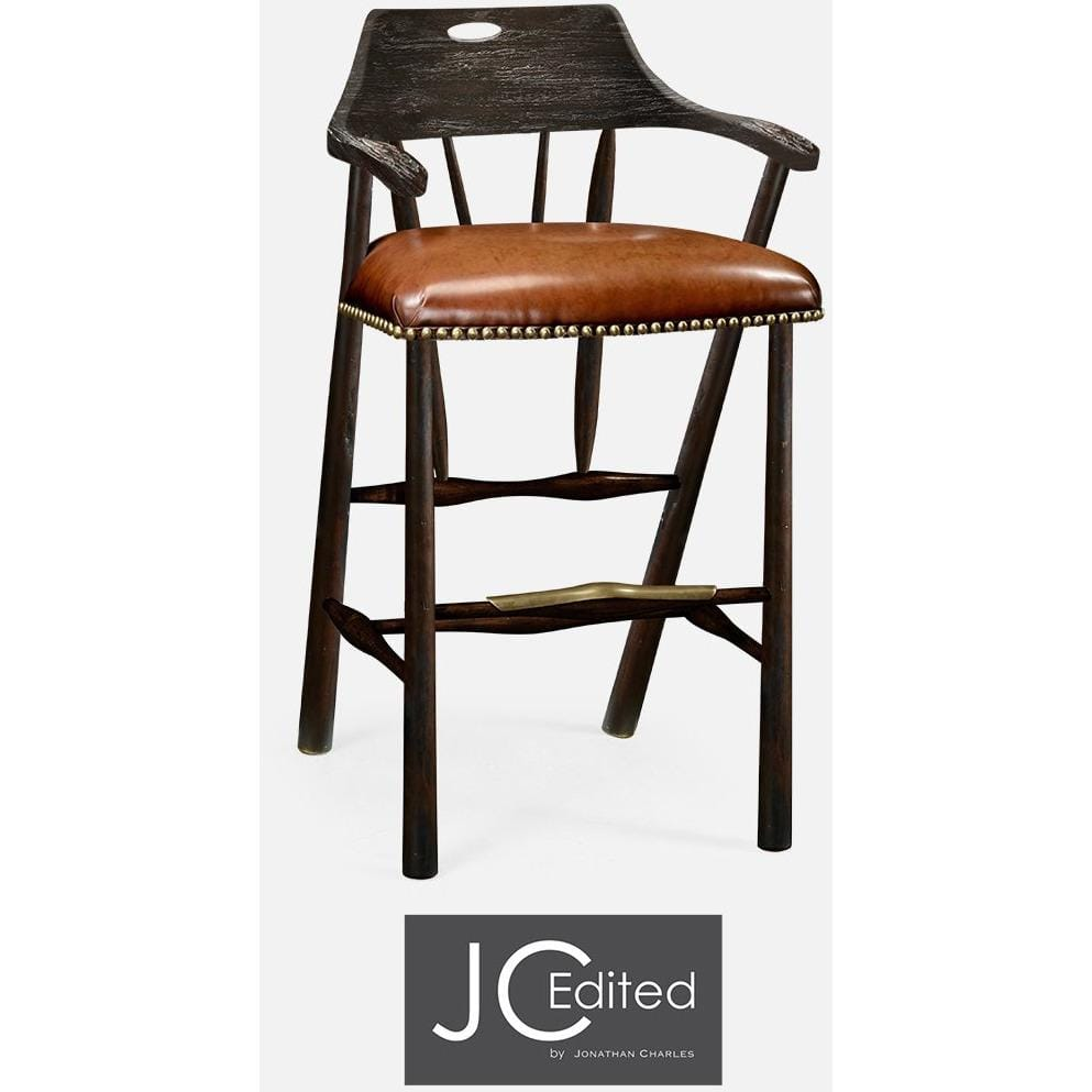 Jonathan Charles Smokers Style 30 Wood And Leather Bar Stool With
