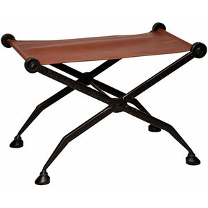 "Noir 21"" Cassius Stool, Cast Iron and Leather Stool Noir - Express Home Bars"