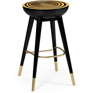 "Jonathan Charles Round Black and Gold Satin Wood 30"" Swivel Bar Stool Bar Stool Jonathan Charles Fine Furniture - Express Home Bars"