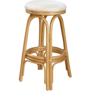 "Hospitality Rattan - Carmen Indoor Swivel Rattan & Wicker 30"" Round Backless Barstool in Natural Finish Bar Stool Hospitality Rattan Home - Express Home Bars"