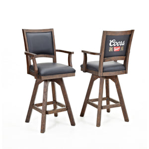 "ECI Set of 2 30"" Coors Banquet Walnut Hardwood and Black Leather Bar Stools with Arms and Back Bar Stool ECI - Express Home Bars"