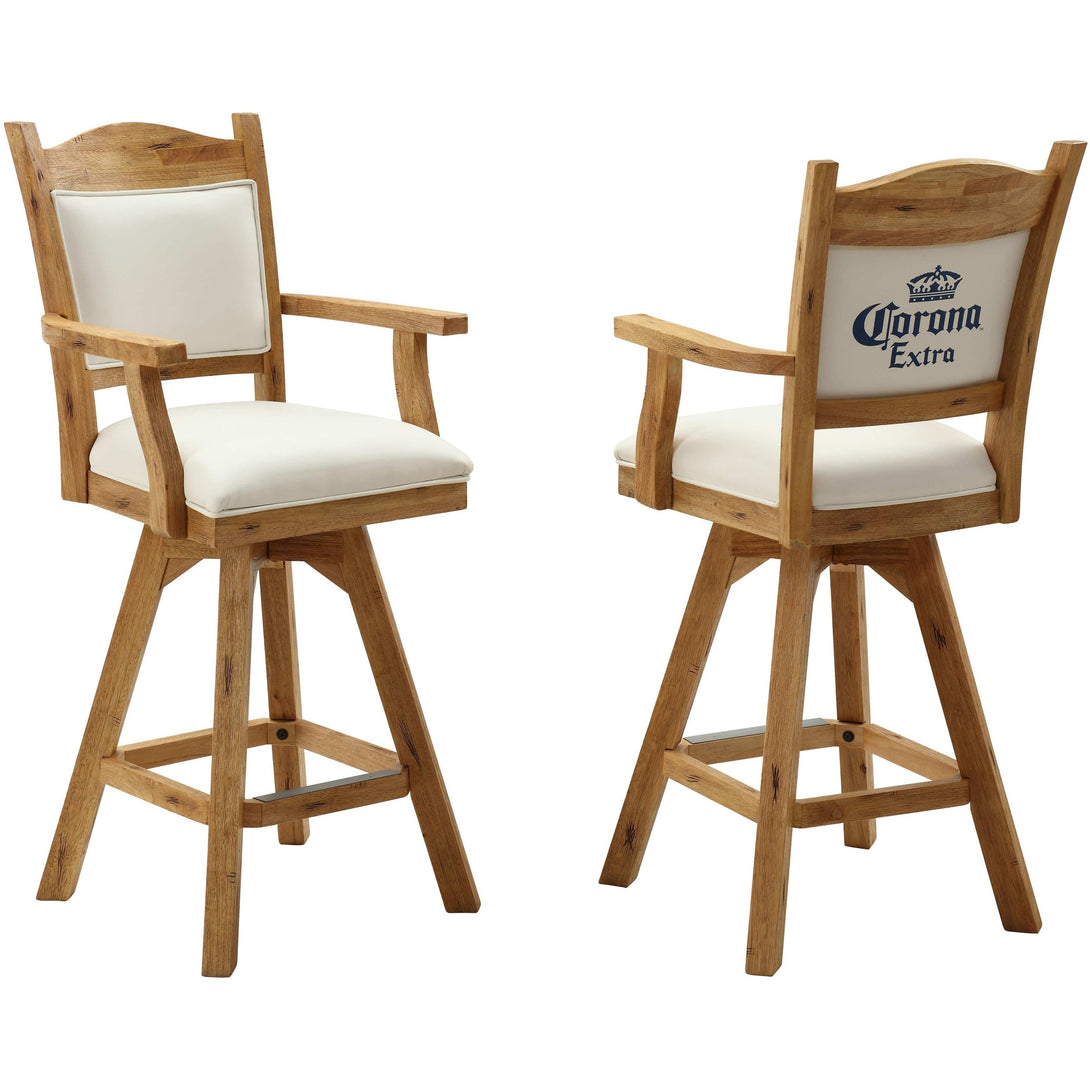 ECI Set of Two Corona Extra Distressed Walnut and White Leather Bar Stools with Arms and Back Bar Stool ECI - Express Home Bars