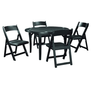"Ram Game Room 48"" Fold Game Table and Chairs 5 pc Set- Black Poker Table Set RAM Game Room - Express Home Bars"